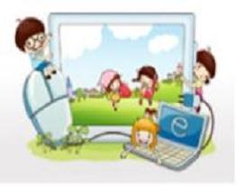 올바른 인터넷 사용을 상징하며 아이들이 모니터 안에서 뛰노는 그림